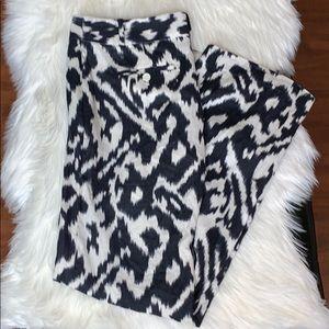 Ann Taylor Loft Black and cream linen pants